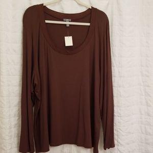 J Jill Brown 4x stetch long sleeve Tshirt